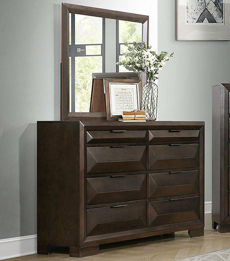 5 Modern Bedrooms: CEDRIC 5 Piece Modern Brown Bedroom Suite W/ Queen Size