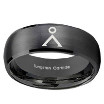 Stargate Design 10mm Brushed Black Dome Tungsten Carbide Engraved Ring - $53.99