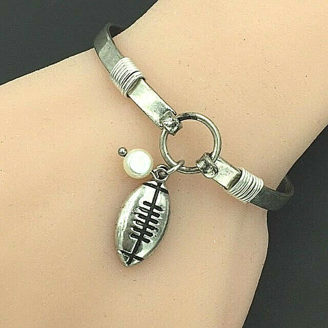 Primary image for Football Charm Bangle Bracelet White Gold NEW