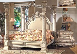 Mcferran B9097-EK Monaco Blanc Luxury King Size Canopy Bedroom Set 3Pcs Classic