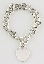 Tiffany & Co. Sterling Silver Blank Heart Tag Charm Bracelet Retails - $296.90