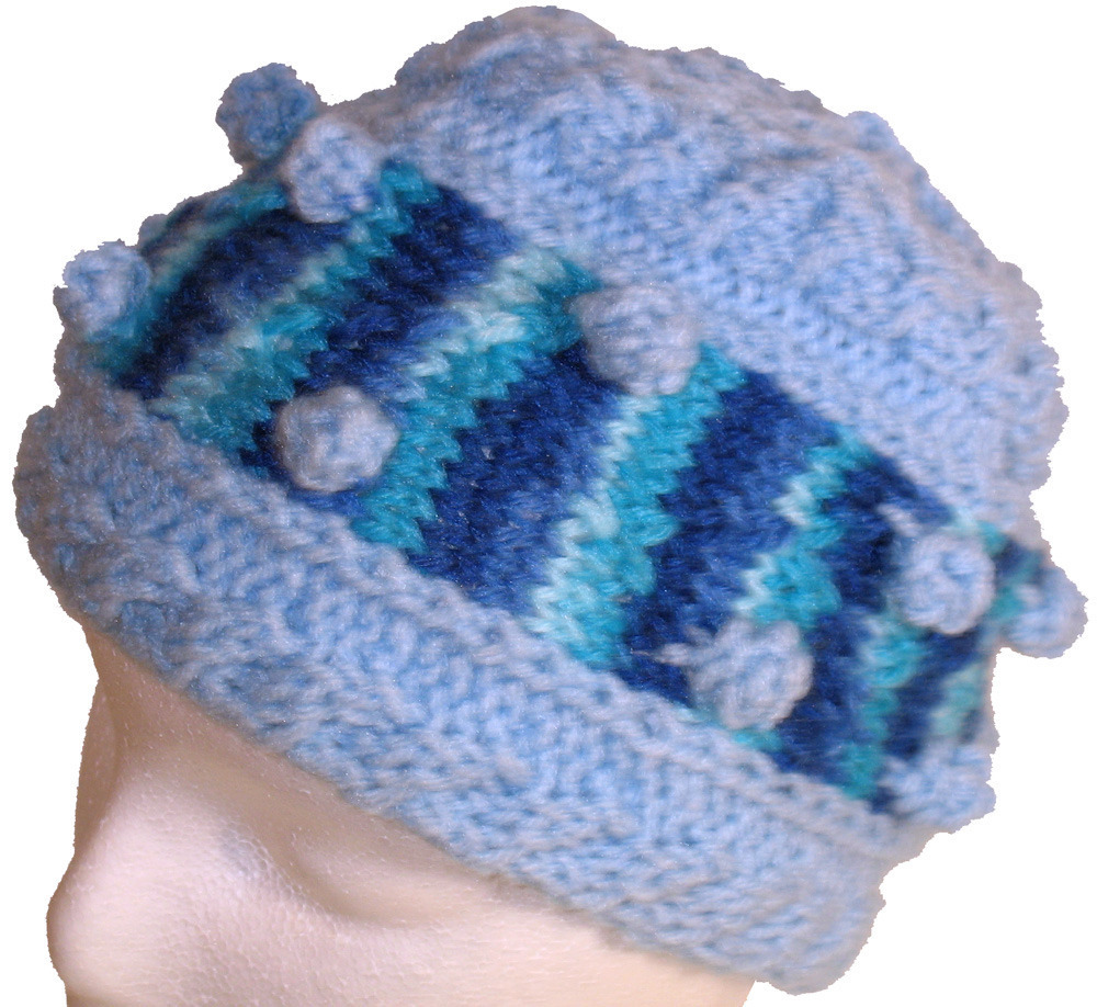 Primary image for Light blue Bobble Hat with multi-color blue
