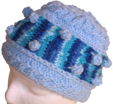 Light blue Bobble Hat with multi-color blue - $20.00