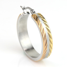 Chic Polished Tri-Color Silver, Gold & Rose Tone Hoop Earrings- United Elegance image 2