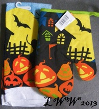 Full Moon Haunted House Jack-o-lantern Halloween Kitchen Towel & Oven Mi... - $5.99