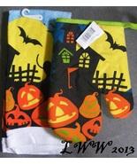 Full Moon Haunted House Jack-o-lantern Halloween Kitchen Towel & Oven Mi... - $5.99