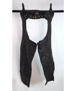 Vintage HIGHWAY ONE Black Leather Motorcycle Biker Chaps Riding Pants Ad... - $34.64