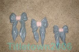 Homco 3 Blue and Pink Bows Wall Accent Set Home Interiors 7601 - $8.99