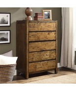 Rustic Bedroom Dresser Chest of Drawers Solid Wood 5-Drawer Farmhouse Da... - £324.47 GBP