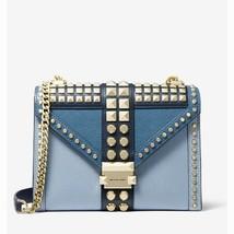 Michael Kors Large Studded Saffiano Leather Convertible Shoulder Bag Blue - $232.47