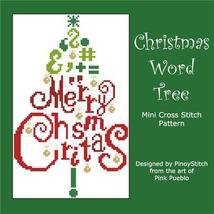 Christmas Word Tree cross stitch chart Pinoy Stitch - $7.20