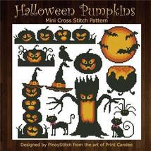 Halloween Pumpkins Silhouettes cross stitch chart Pinoy Stitch - $9.00