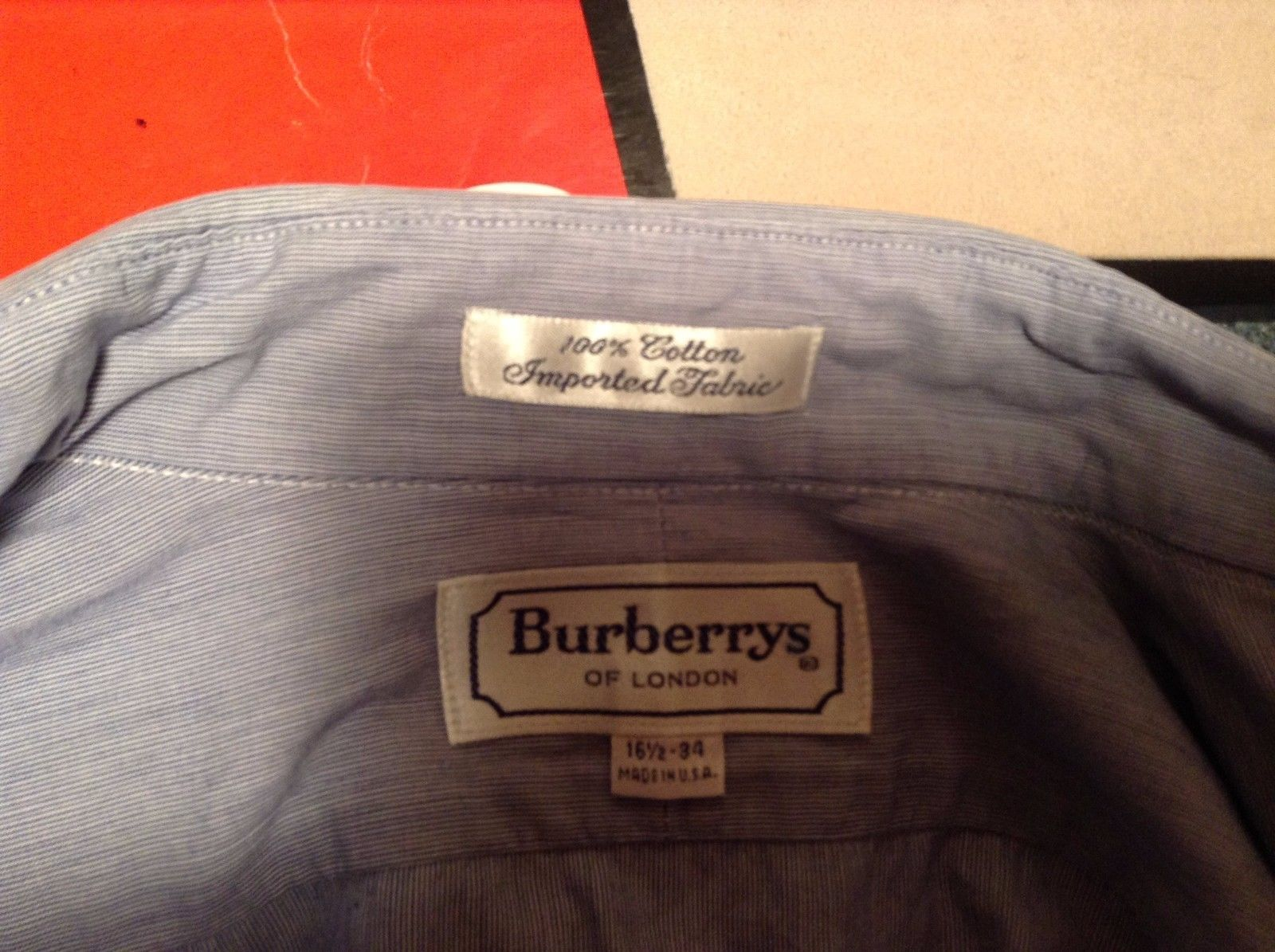 Burberry of London Men's Long Sleeve Cuff Link Med Blue Dress Shirt Sz 16.5/34