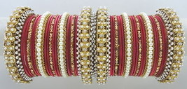 Traditional 38 Pcs Maroon Cz Gold Tone Party Wear Bangles Set Jewelry0258l - $43.93