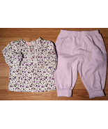 Girl's Size 3-6 M Months 2 Pc White L/S Purple Floral Baby Q Top & Faded... - $13.50