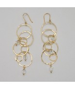 925 STERLING SILVER GOLD PL PENDANT EARRINGS WITH CIRCLES BY MARIA IELPO ITALY - $87.32
