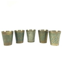 set of 5 etched and painted brass shot glasses or cordials - $24.74