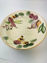 "Los Angeles Potteries 508 Lg Salad Serving Bowl 14"" x 3"" ""Salad"" - $14.85"