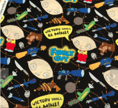 Family Guy Toys of Destruction Black Camelot 100% cotton Fabric by the yard - $11.75