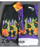 Witch Boots Black Cats Jack-o-lantern Halloween Kitchen Towel & Oven Mit... - $5.99