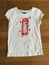 * gap kids cream white red london graphic tee shirt top medium 8 girl - $4.51