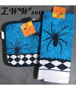 Blue Checkered Spider and Spider Web Halloween Kitchen Towel & Pot holde... - $5.99