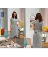 Soft Cozy Loungewear Cool Luxe Knit WrapSkirt Dress, Heather Grey,,  Siz... - $29.69