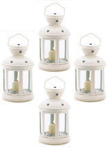 Four (4) Colonial star white metal glass hanging candle holder patio lan... - $27.00