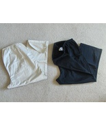 Duo Maternity Womens Capri Crop Pants L Black and Cream 285-2311 Set of 2  - $21.97