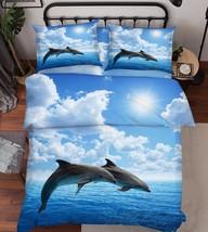 3D Sea Dolphins Bed Pillowcases Quilt Duvet Cover Set Single Queen King Size AU - $64.32+