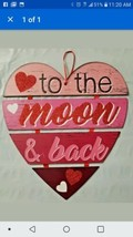 Valentine's Day 4 pt 'To the Moon & Back' Hanging Sign Red Pink Glitter w - $7.31