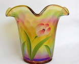 Fenton Flip Vase Autumn Gold With Golden Tulips Signed  4751 A9