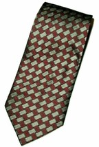 "Kenneth Cole Men's Silk Neck Tie Burgundy Red Silver Gray Black Geo 58"" NWOT - $10.88"