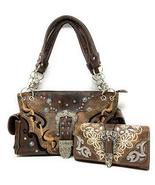 Western Women's Tooled Leather/Laser Cut Purse Buckle Concealed Carry Handbag an - $63.85