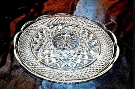 Cut Glass 5 Partition Serving Tray with Diamond Design AA18-11814Vintage Heavy image 2