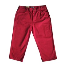 LAUREN JEANS Capri Crop Pants 14 NEW Classic Mid Calf Red Cotton Denim W... - $26.78