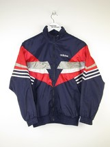 Vintage 80s Adidas track jacket / size 152 / Blue white red retro with zip VTG - $64.57