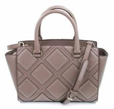 Michael Kors Selma Diamond Grommet Satchel Bag Cinder Grey Brown Handbag - $409.81
