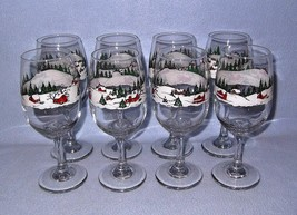 Libbey Winter Village 8 Water Goblets Wine Glasses Snow Scene 12 ounce - $24.99