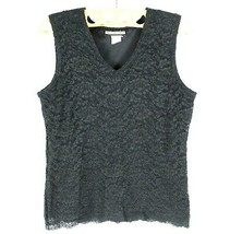 Notations Crotchet Detail Top Size L Women's Black Sleeveless Lace MADE ... - $7.83