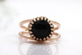 Black onyx ring,rose gold ring,pink gold ring,everyday ring,black diamon... - $45.00+
