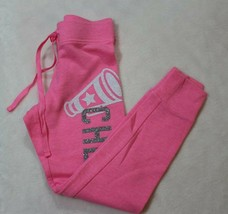 Justice Girls Pants Size 6 Pink Sweatpants Glittery Cheer Casual School - $16.54