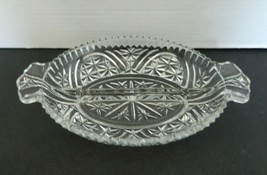 Anchor Hocking Stars & Bars Thousand Line Rainbow Relish Dish 2 part Oval  - $14.73