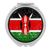 Kenya : Gift Compact Mirror Flag Retro Artistic Kenyan Expat Country - $12.99