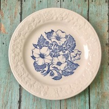 Vtg Homer Laughlin Wild Rose Bread Dessert Plate Blue Flowers Embossed Trim - $14.35