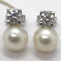 WHITE GOLD EARRINGS 750 18K WITH PEARLS WHITE AND ZIRCON CUBIC - $220.34