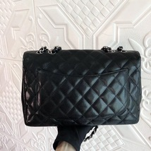 Authentic Chanel Black Jumbo Quilted Caviar Classic Single Flap Bag Silver HW image 3