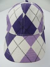 Purple White Plaid Diamond Adjustable Adult Ball Cap Hat - $12.86