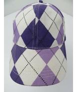 Purple White Plaid Diamond Adjustable Adult Ball Cap Hat - £10.09 GBP