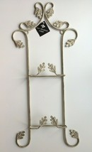 Vertical Display Rack for 2 Plates Wall Hanging Beige Distressed Leaves ... - $27.74